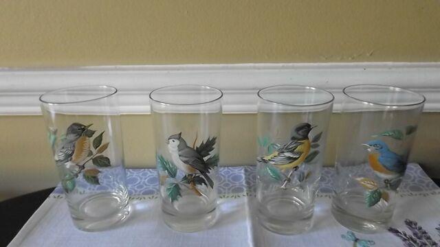 VINTAGE WILD BIRD TUMBLER HIGHBALL GLASSES HAND PAINTED SET OF 4