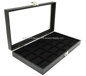 1-Glass-Top-20-Space-Black-Collectibles-Jewelry-Pins-Arrowheads-Display-Case