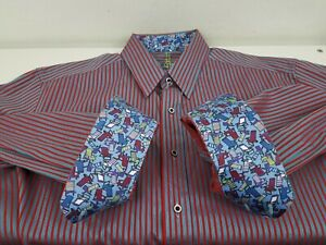 Robert-Graham-Dress-Shirt-L-Blue-Red-Stripe-Button-Up-Long-Sleeve-Flip-Cuff