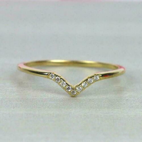 0.8ct Round Cut Diamond Wedding Band V Shaped Petite Curved 14k Yellow Gold Over