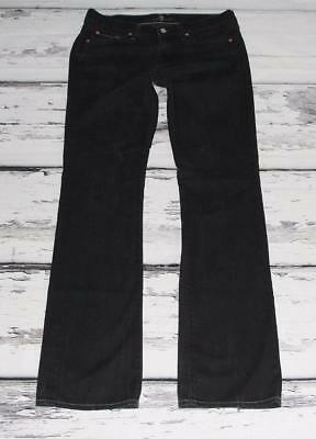 7 FOR ALL MANKIND~WOMEN'S~DISTRESSED STONEWASHED BLACK~BOOT CUT JEANS~30 x 34.5""