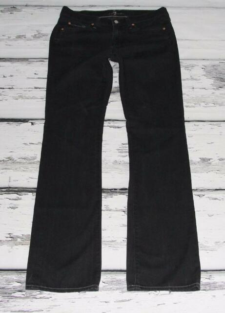 """7 FOR ALL MANKIND~WOMEN'S~DISTRESSED STONEWASHED BLACK~BOOT CUT JEANS~30 x 34.5"""""""