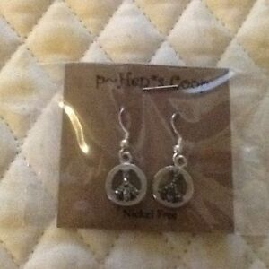 Earrings-Peace-Symbol-Various-Styles-silver-copper-howlite-Handmade-USA