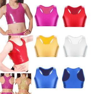 be5b42db31ca Dance Crop Top Girl Kids Metallic Gym Ballet Sport Street Leotard ...
