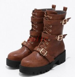 ff40660ecd9a Women s Punk Goth Platform Buckle Shoes Retro Lace Up Knight Mid ...