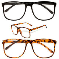 Large Oversized Vintage Glasses Reading Clear Lens Thin Frame Nerd Glasses Gee