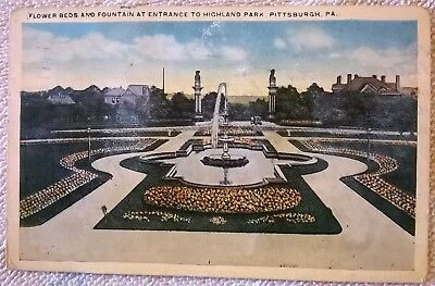 1919 Post Card of Flower Beds and Fountain, Highland Park, Pittsburgh, PA |  eBay