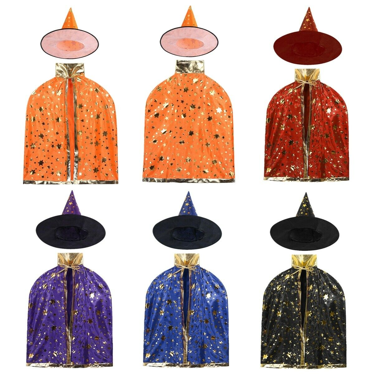 Kids Halloween Costumes Outfit Witch Wizard Cloak Cape Pointed Hat Cosplay Party