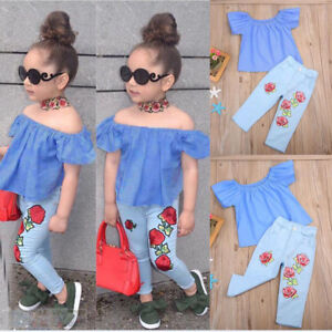 2PCS-Toddler-Kids-Baby-Girls-Clothes-T-shirt-Tops-Denim-Jeans-Pants-Outfits-Set