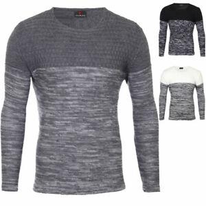 maglia Maglione Girocollo Colorblock Melange Fashion uomo Rs3124 a lavorato Maglione Reslad p4awAW