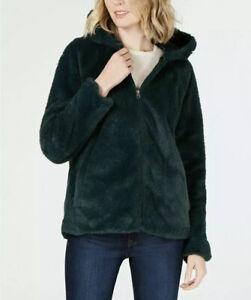 NWT-Style-amp-Co-Women-s-Faux-Fur-Hooded-Jacket-Deep-Pine-Petite-Size-PL-PXL