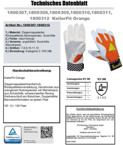 9  Paar Keiler FIT Orange Forsthandschuhe  GR.9 NEU plus 450 Dübel NEU