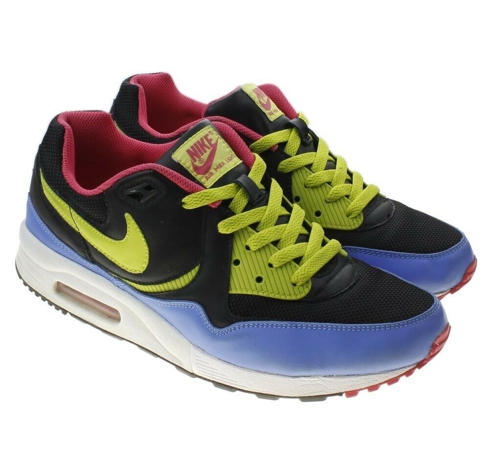 Used Size 10.5 Nike Air Max Light shoes Black, Cactus, Dark Crystal bluee