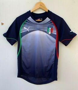 Puma-Italy-Italia-Blue-Football-Soccer-jersey-t-shirt-size-men-039-s-small-S