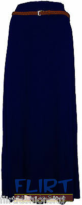 Womens Long Gypsy Skirt Ladies Belted Jersey Maxi Sexy Shakira Dress Casual 8-14