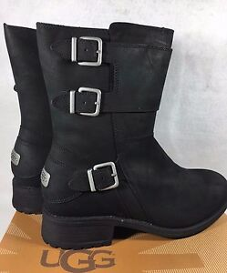 e56e15b6a27 Details about UGG Wilcox Water Resistant Nubuck Leather Sheepskin Buckle  Moto Boots 1016169