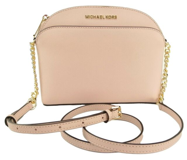 Michael Kors Womens Small Medium Pink Gold Leather Crossbody Handbag Bag Purse