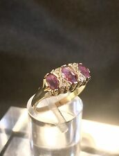 Beautiful Vintage Pink Spinel & Diamond Seven Stone 9ct Gold Ring