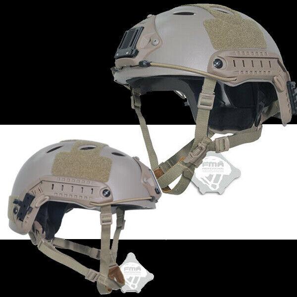 FMA Tactical Adjustable Fast Helmet Paintball NVG Mount Airsoft Helmet TB819 DE