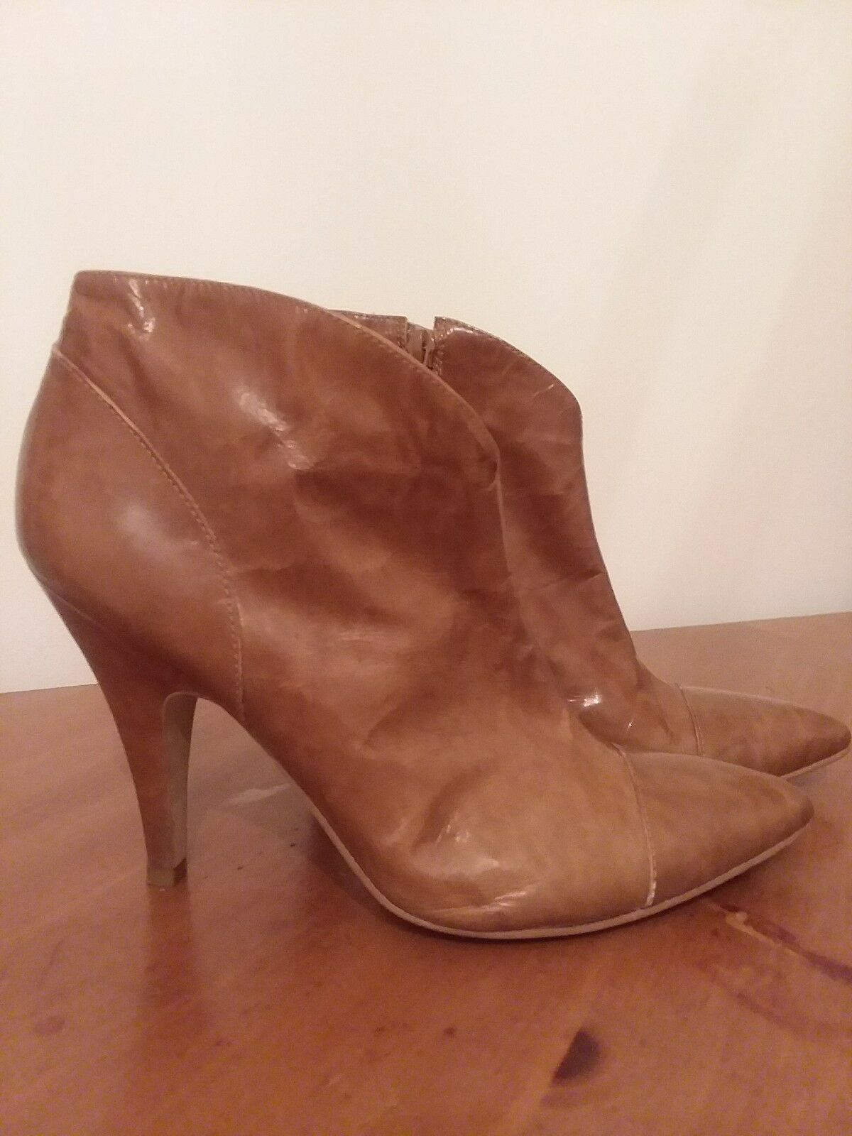BCBGirls Patent Leather Brown Ankle Boots