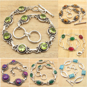 PERIDOT-amp-Other-Many-Stones-Many-Styles-925-Silver-Plated-FASHION-BRACELETS