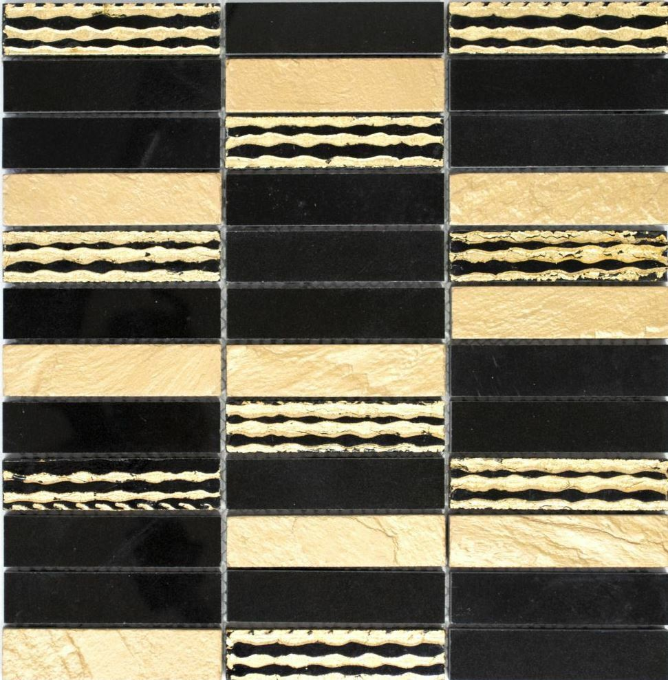Marmor Mosaik Stein Carving mix Gold schwarz Küche Wand Art 40-STN79   10 Matten