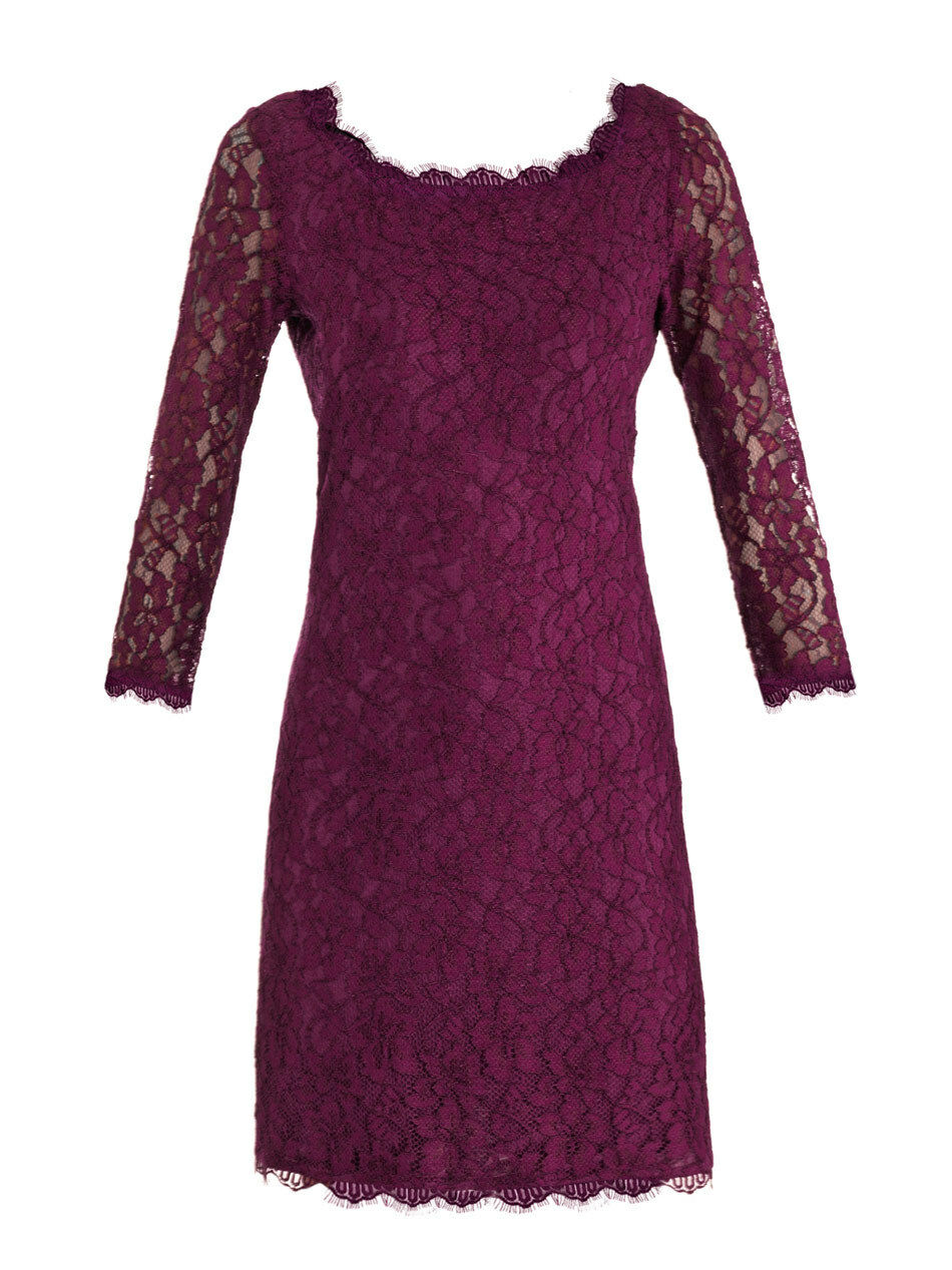 NWT  348 Diane Von Furstenberg Zarita Lace Lace Lace Sheath Dress in Plum, Size 2 - 14 923d39
