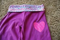 Bally Total Fitness Girl's Sz Xs (4-5) Purple, Pink, Blue Yoga Pants W/heart