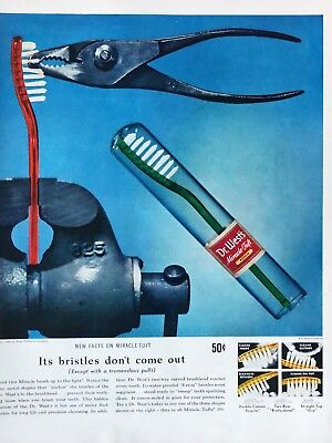 1940-49 Advertising Original 1949 Print Ad Dr West's Toothbrush Vintage Bristles Don't Come Out To Rank First Among Similar Products