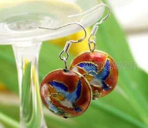 SALE-Fashion-18mm-Red-Round-Cloisonne-Beads-Dangle-1-5-039-039-earring-ear585