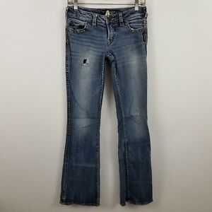 Silver-Frances-Womens-Boot-Cut-Distress-Medium-Wash-Blue-Jeans-Size-26-x-33