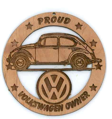 Volkswagen VW Beetle Wood Ornament Engraved