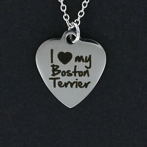 I-Love-My-Boston-Terrier-Heart-Necklace-Large-Stainless-Steel-Charm-Dog-NEW