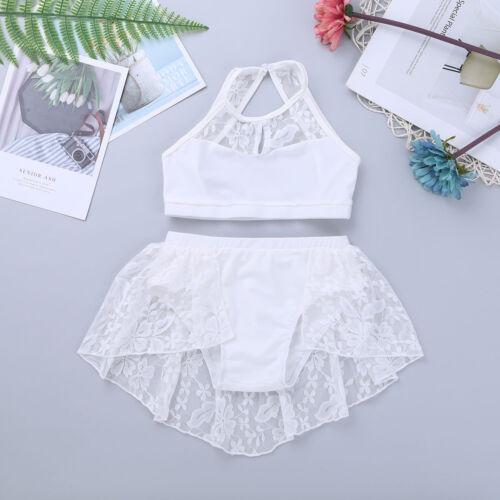 Kids Girls Gymnastics Sports Outfit Modern Jazz Dancewear Crop Top Bottoms 2PCS