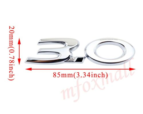 Chrome Metal Vehicle Body 3D Decal Sticker 2X 3.0 Badge Emblem Logo Decoration