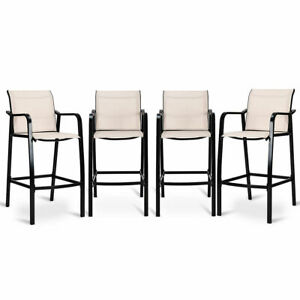 4-PCS-Counter-Height-Stool-Patio-Chair-Steel-Frame-Leisure-Dining-Bar-Chair