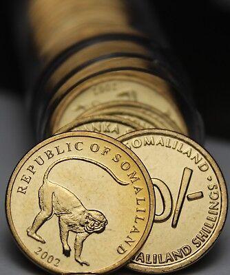 30 Somaliland 10 Scellini,2002 ~vervet Monkey~ Spedizione Gemma Unc Roll