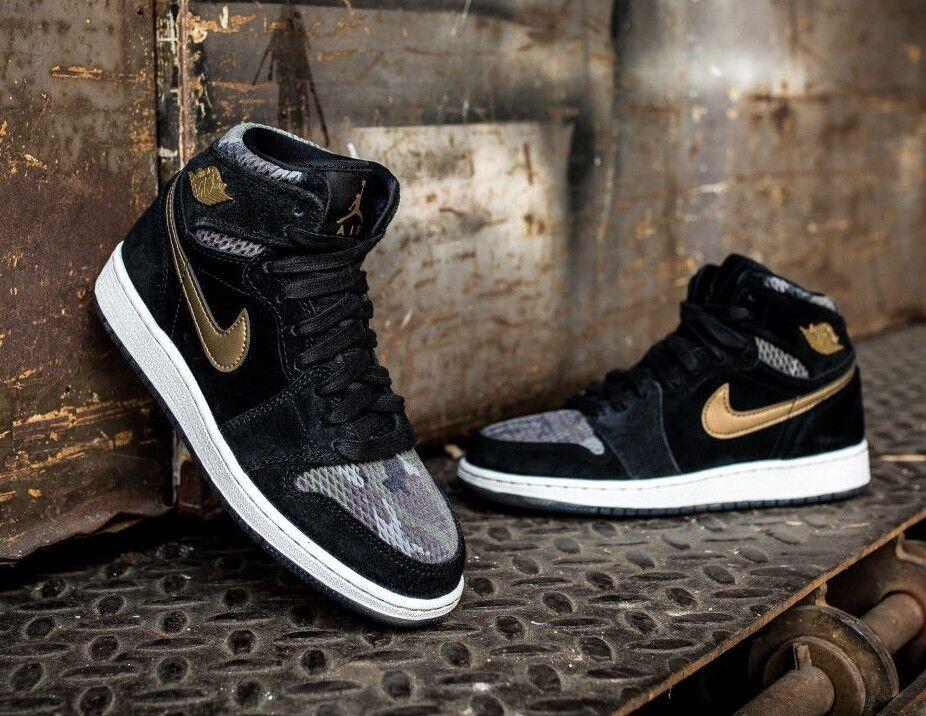 Nike Air Jordan 1 I Retro High Hi Black Metallic gold CAMO Olive Grey White 7.5