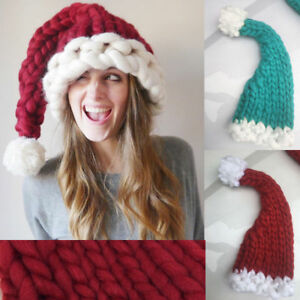 Kids Adult Hand Woven Pom Pom Christmas Beanie Cap Long Chunky ... 5c35adf5af6b