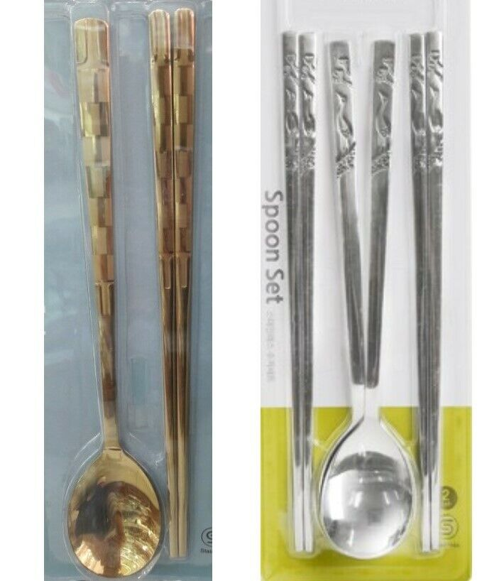 2 Pair Korean Traditional Spoon Chopsticks 6 Asian Musterbestec