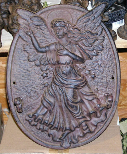 Cast Iron Angel Plaque with Hooks Rustic Brown