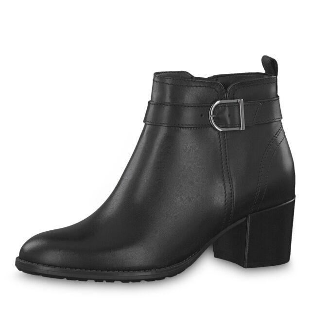 Tamaris 25069 schwarz Leder Anti Shock Stiefeletten Schnalle Seite Reißverschluss