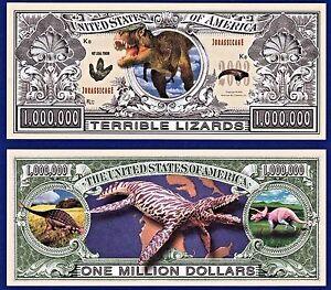 100 Lizards Dinosaur Reptile Lizard Novelty Bills Lot