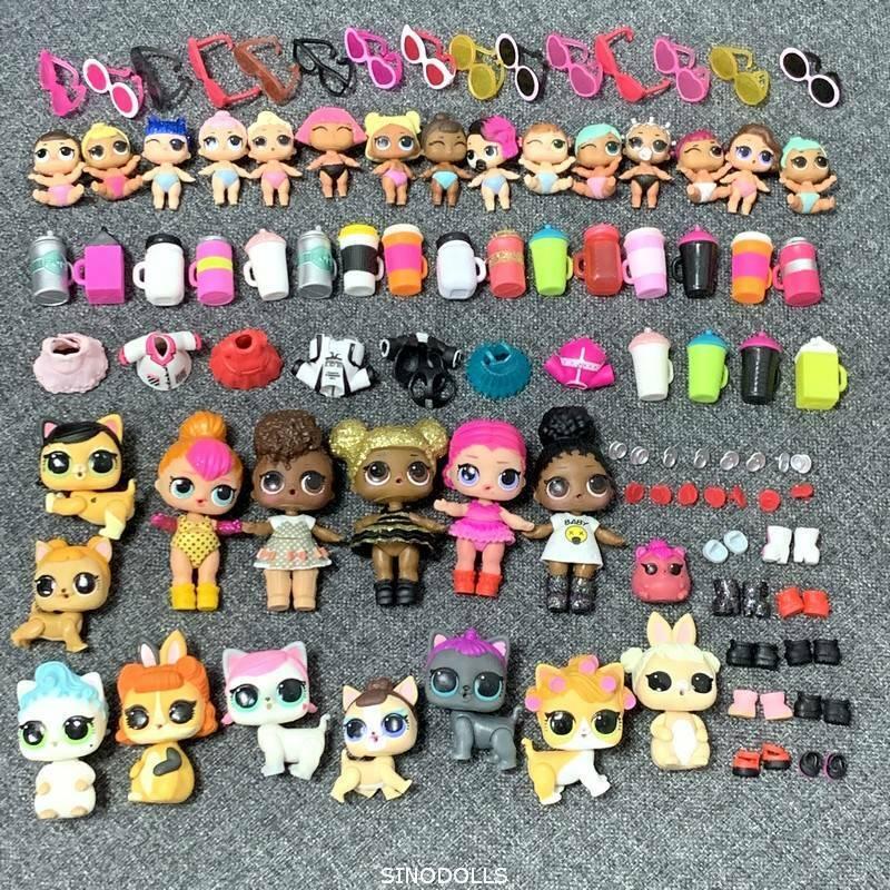 massa 100 Pcs LOL Surprise Doll Queen Bee Lil Sisters Pet & dräkt klädleksak