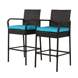 Set-of-2-Bar-Stool-Outdoor-Patio-PE-Wicker-Barstool-Pool-High-Chair-w-Cushions