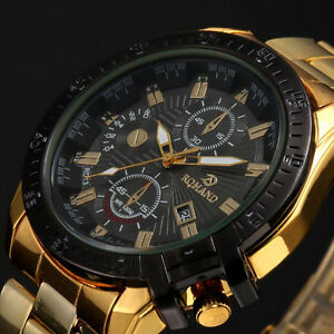 Herren-Schwarz-Dial-Gold-Edelstahl-Date-Quarz-Analog-Sport-Armbanduhr-Neue