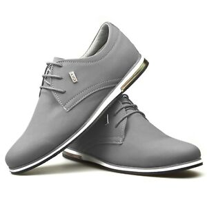 Mens-New-Black-Classic-Grey-White-Leather-Suede-Boys-School-Work-Trainers-Shoes