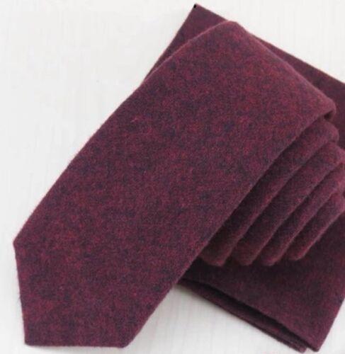 Vintage Rojo Burdeos Hombre Suave Algodón Estrechos Corbata Excelente Calidad &