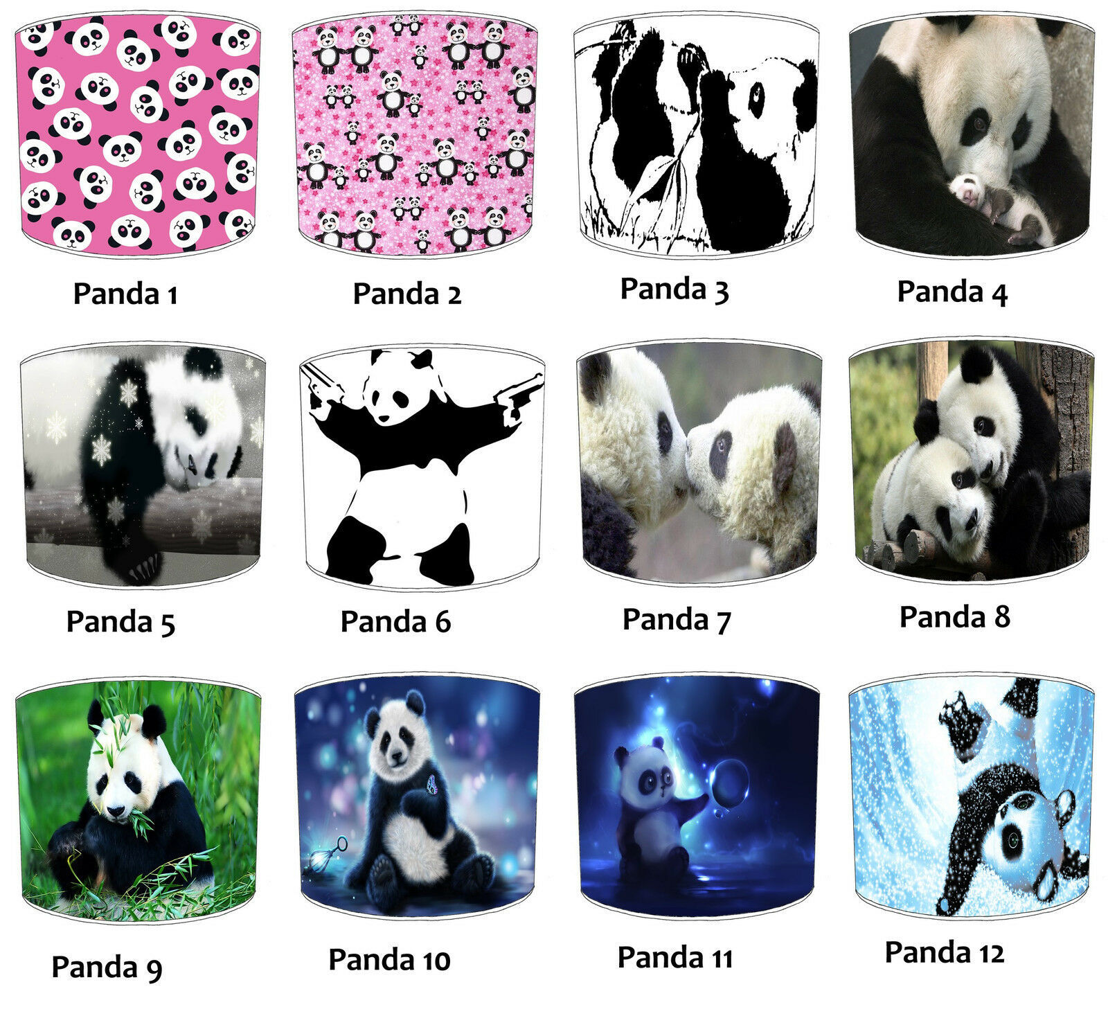 Giant Panda Lampshades Ideal To Match Panda Wall Posters, Giant Panda Wall Decal