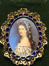 Antique 18K Gold Pendant Brooch- Hand Painted Cameo by Hil w/ Diamonds and Ruby